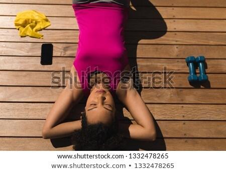 Ver cansado mulher relaxante quintal fitness Foto stock © wavebreak_media