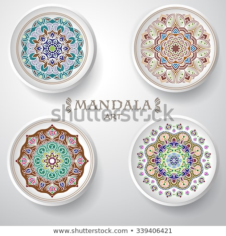 Four mandala patterns design on background template Stock photo © bluering