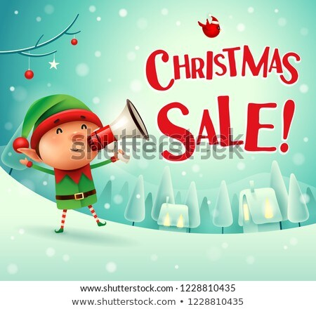Poster Christmas Sale with Elf Character Vector Stock photo © robuart