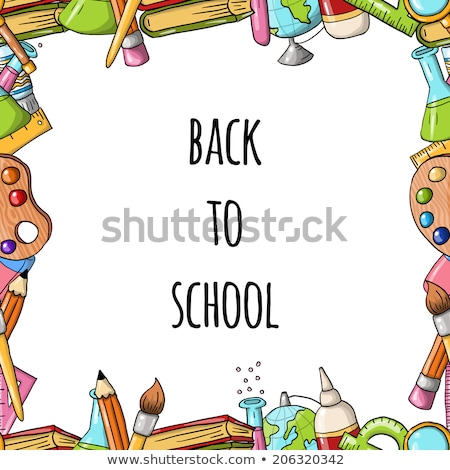Cartoon vector doodles Back to school frame Stock photo © balabolka