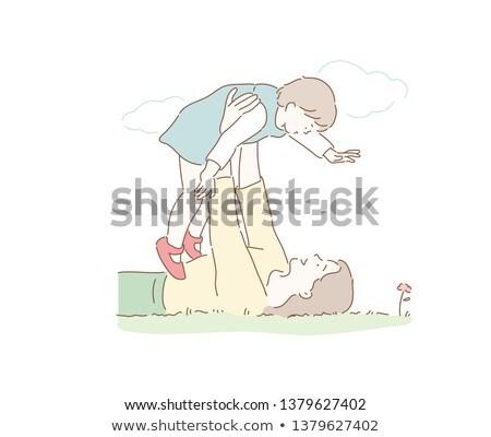 Anya játszik baba park anyaság vektor Stock fotó © robuart