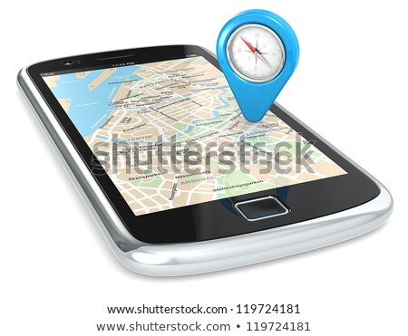 Black smartphone with an abstract GPS map on screen Stock photo © Nobilior