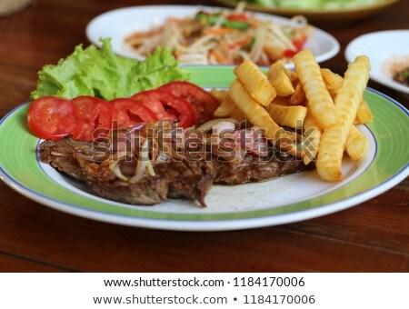 Сток-фото: пластина · фри · овощей · мяса · обед · растительное