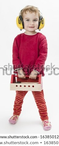 child in red with toolbox and earmuffs Stock photo © gewoldi