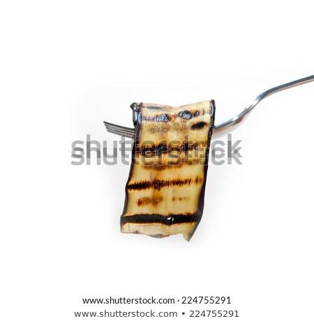 A la parrilla berenjena tenedor macro alimentos Foto stock © keko64