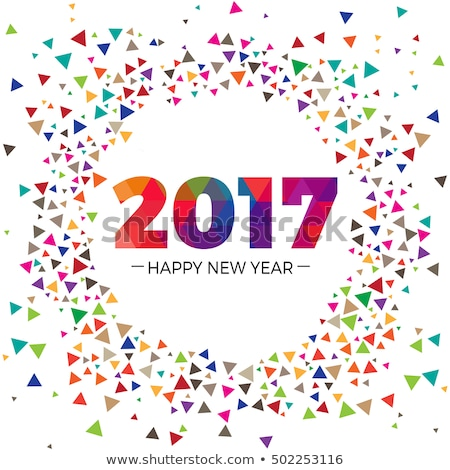 2017 colorful new year design with abstract shapes Stock photo © SArts