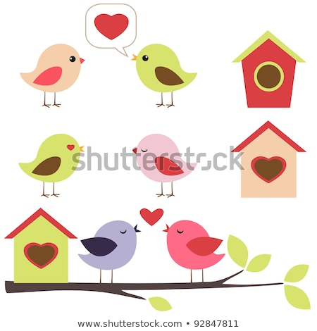 birds in love and birdhouse Stock photo © adrenalina