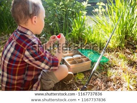Boy preparing a bait in the forest Stock photo © wavebreak_media