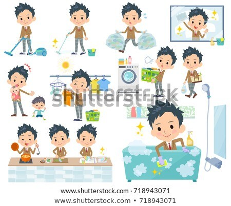школьник коричневый набор различный торговых кухне Сток-фото © toyotoyo