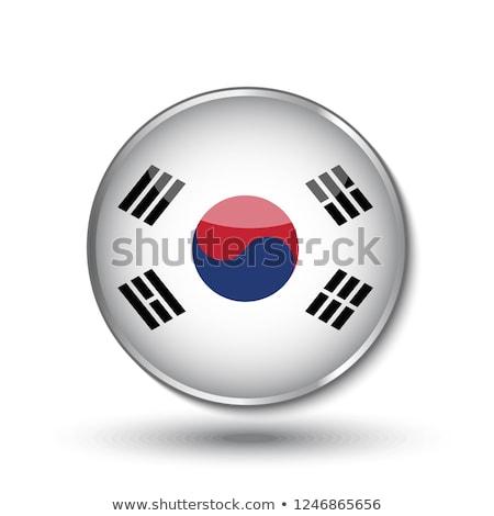 South Korea flag on metalic background Stock photo © colematt