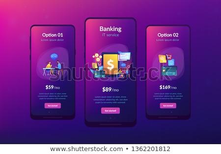 núcleo · bancario · aplicación · interfaz · plantilla · tableta - foto stock © rastudio