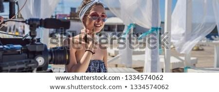 женщины блоггер запись видео баннер долго Сток-фото © galitskaya