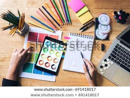 felső · kilátás · fiatal · grafikus · designer · dolgozik - stock fotó © freedomz