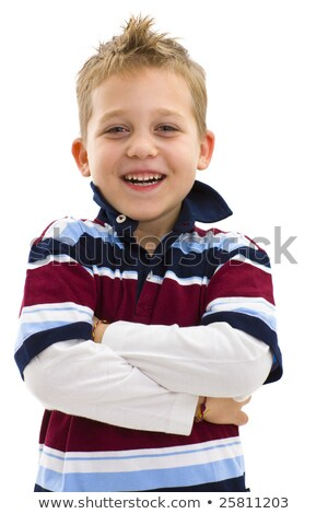 smiling boy in striped pullover with crossed arms Stock photo © dolgachov
