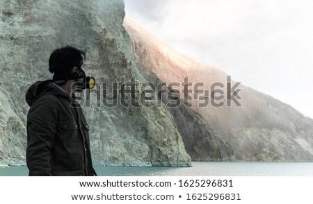 若い男 観光 立って エッジ クレーター 火山 ストックフォト © galitskaya