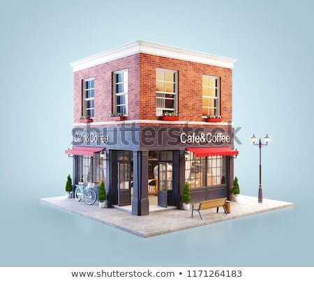 Coffeehouse Exterior and Interior, People in Cafe Stock photo © robuart