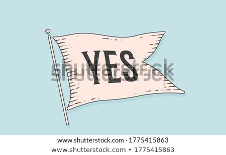 Sim bandeira velho vintage Foto stock © FoxysGraphic