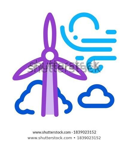 Wysoki wiatr energii młyn ikona wektora Zdjęcia stock © pikepicture