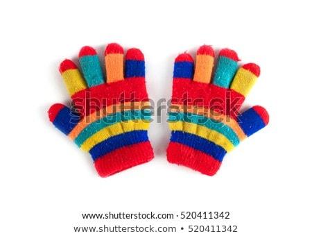 Stok fotoğraf: çizgili · eldiven · parmaklar · renkli · beyaz