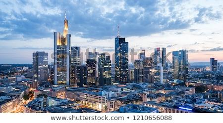 Kilátás sziluett Frankfurt mezők üzlet pénzügy Stock fotó © meinzahn
