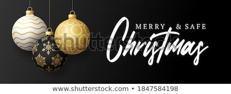 three gold christmas baubles stock photo © taviphoto