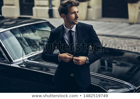 Férfi modell durva téglafal férfi divat haj Stock fotó © vanessavr