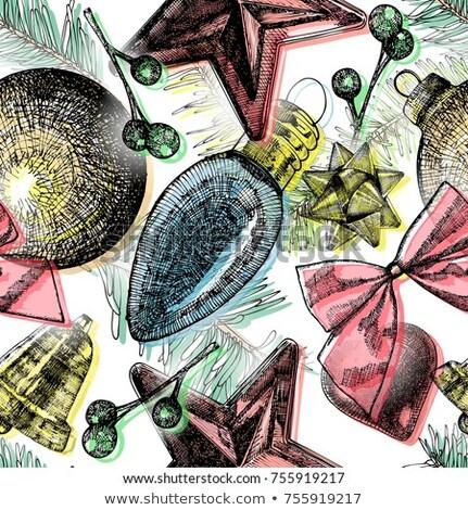 бесшовный · орнамент · красивой · Рождества · зима - Сток-фото © voysla