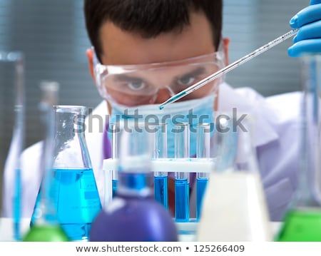 男 化学者 試験管 青 医療 薬 ストックフォト © OleksandrO