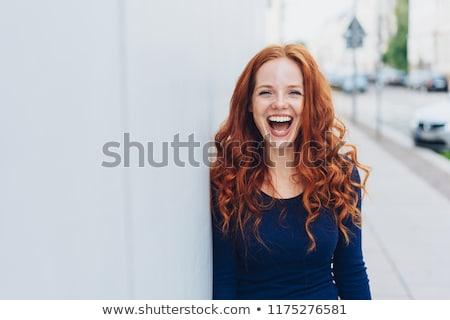 mulher · indicação · para · cima · sorrir · isolado - foto stock © sapegina