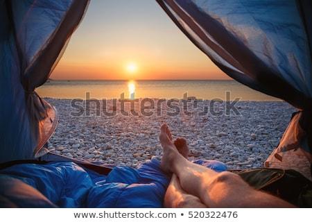 Kilátás turista sátor hegyek fickó csizma Stock fotó © Kotenko