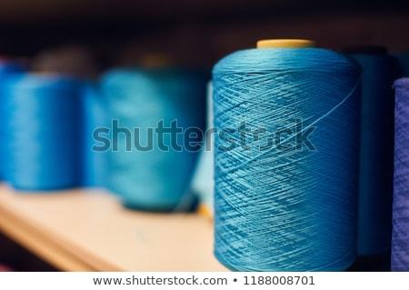kék · fonál · tű · izolált · fehér · textúra - stock fotó © oleksandro