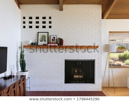 Stylish interior in modern style with wooden beams Stock photo © bezikus