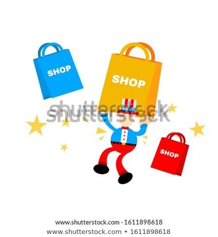 Férfi nagybácsi ajándék papír illusztráció visel Stock fotó © lenm