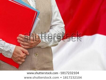 Dobrador bandeira Indonésia arquivos isolado branco Foto stock © MikhailMishchenko