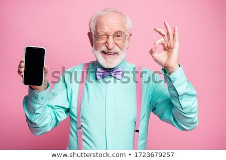Uśmiech starszych człowiek okulary w porządku gest Zdjęcia stock © studiostoks
