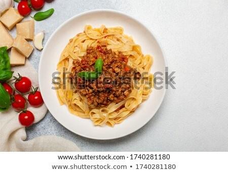 тальятелле соус болоньезе таблице зеленый сыра Сток-фото © Alex9500