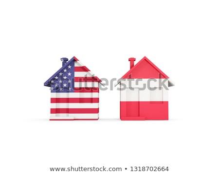 Deux maisons drapeaux États-Unis Autriche isolé Photo stock © MikhailMishchenko