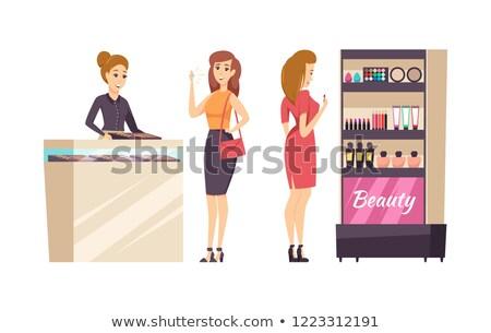 Female Shopaholic Choosing Cosmetics Set Vector Stock photo © robuart