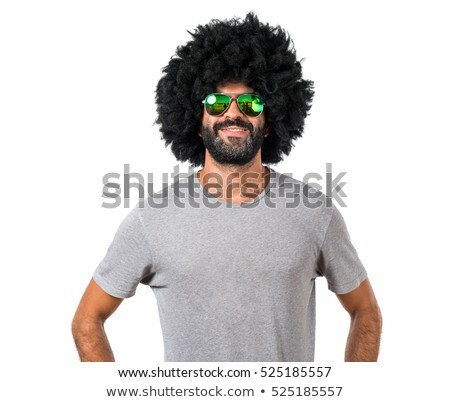 young man wearing afro wig stock photo © elnur