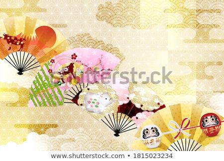 Nieuwjaar japans fan illustratie stijl achtergrond Stockfoto © Blue_daemon