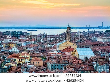 Venice bell tower at sunset Stock photo © frimufilms