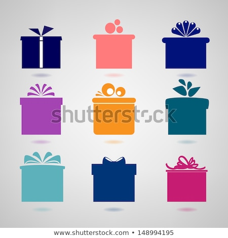 boxes icons vector gifts present in color wrapping stock photo © robuart
