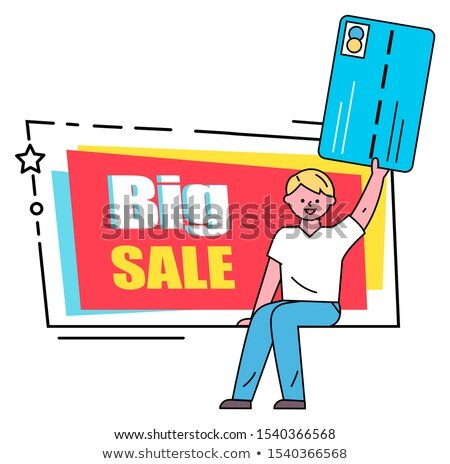 Man Holding Card, Big Sale Caption on Black Friday Stock photo © robuart