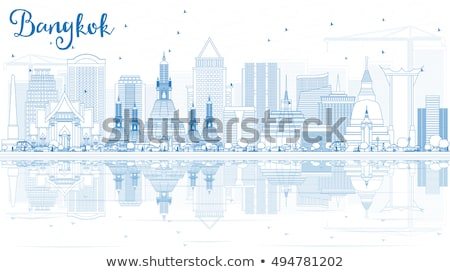 Bangkok Skyline bleu réflexions voyage d'affaires Photo stock © ShustrikS