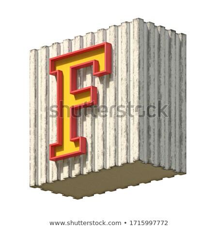 Vintage concrete red yellow font Letter F 3D Stock photo © djmilic