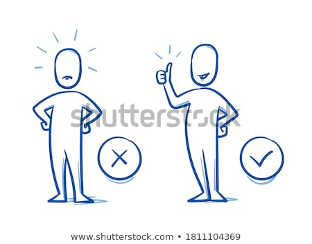 Cartoon hand in dislike gesture, simple outline icon Stock photo © evgeny89