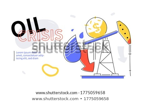 Oil crisis - colorful flat design style web banner Stock photo © Decorwithme