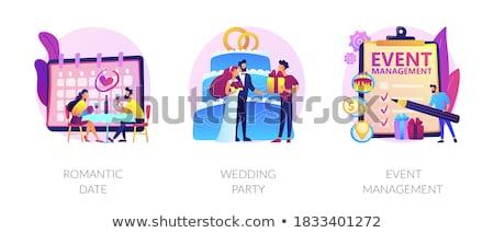 Ceremonia ślubna wektora metafora oblubienicy piękna biała sukienka Zdjęcia stock © RAStudio