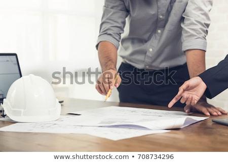 Inşaat yönetici çalışma planları ofis kitap Stok fotoğraf © Elnur