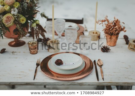 iki · ahşap · plaka · bıçak · gıda - stok fotoğraf © hofmeester